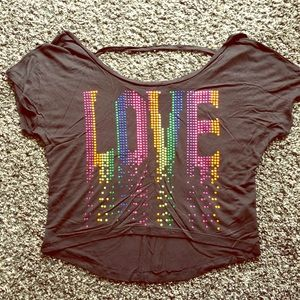 Delia's Rainbow Love Off the Shoulder Tee